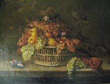 2378/ grande huile sur toile nature morte panier fruits