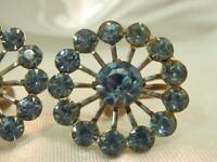 Classy Blue Ice Rhinestone Large Flower Vintage 1950s Screw Back Earrings 861JL9