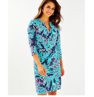 Lily Pulitzer Women's Size XS Delora Printed Dress Blue Pink Short Sleeve NEW