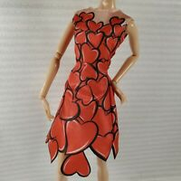 COCKTAIL W ~ DRESS ~ MATTEL BARBIE DOLL MODEL MUSE RED HEART CELEBRATION GOWN