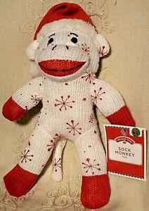 "Dan Dee SNOWFLAKE SOCK MONKEY Red White Christmas Stuffed Animal Plush Toy 10"""