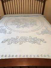 Mary Janes Farm Queen Bedspread Chenille Blue
