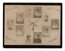 c1880 Photo Montage Albumen Print Boston Sewing Circle 10 Cabinet Card Women