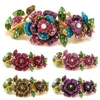 Woman metal Barrette rose flowers rhinestones crystal hair clip bridal barrette