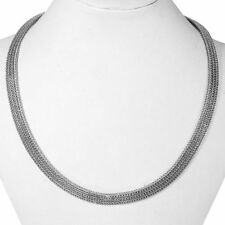 SALE !! THREE ROW SNAKE CHAIN COLLAR Necklace 925 Sterling Silver 17 Inch  58gms