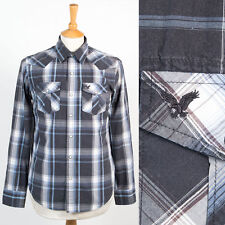 AMERICAN EAGLE OUTFITTERS SNAP FASTEN WESTERN SHIRT GREY PLAID CHECK S