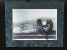 "HR Giger ""Man With Helmet"" Work #366 1978 Suede Matted Mounted Print Acid Free"