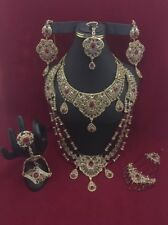 NWOT 7pieces Complete Dulhan Set With High Quality Red/champagne Crystal Bead