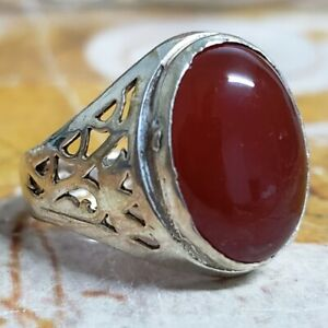 yemen Jewelry 925 Sterling Silver Red Agate Aqeeq Mens Ring ALL SİZE Carnelian