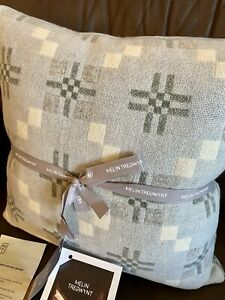 Melin Tregwynt Powder Blue Grey Wool Woven Throw Pillow Cushion - NWT - Welsh