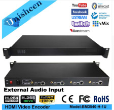 H.264 H.265 HEVC MPEG-4 4 in 1U Rack HDMI  IPTV Video Encoder Logo watermark UDP