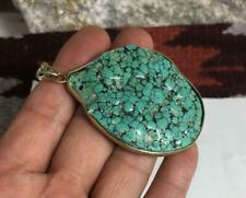 vintage huge block turquoise pendant necklace/(w323b-w1.5)
