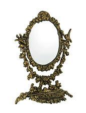 Antique Gold Cast Iron Vintage Victorian Swivel Vanity Mirror