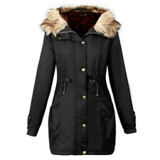 Ladies Women Fur Collar Hooded Winter Jacket Trench Parka Hoodies Coat Outwear