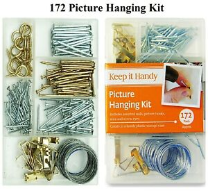 172 Picture Hanging Kit Photo Frame Hooks Brass Nails Wire Complete Set Wall Art