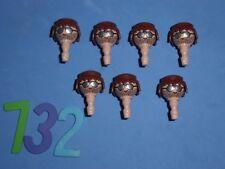 PLAYMOBIL HEADS TÊTES DE LOT, GLASSES, PLAYMOBIL CABEZAS GAFAS LOTE 732