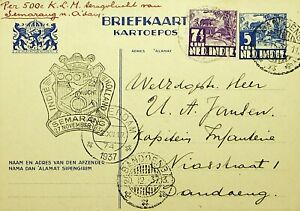 NETHERLANDS INDIES 1937 7½c ON 5c POSTAL CARD FROM AMSTERDAM TO BANDOENG