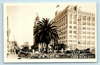 Long Beach, CA - c1920s OCEAN AVE STREET SCENE & JERGINS TRUST BLDG  - RPPC