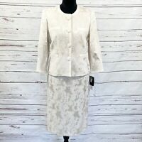 Kasper Petite Women's 2PC Skirt Suit Ocean View Blazer Buttons Almond Sz 6P NWT