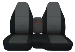 Car seat covers black/charcoal center fits 98-03 FORD RANGER 60/40 highback