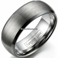 Brushed Center Tungsten Carbide 8mm Men's Dome Wedding Band Comfort Fit Ring