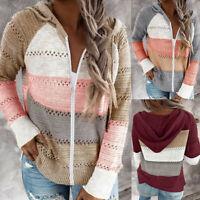 Women Long Sleeve Knit Hooded Sweater Zipper Patchwork Hoodie Pullover Jumper UK