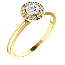 Diamond Halo-Style Heart Promise Ring In 14K Yellow Gold (1/3 ct. tw