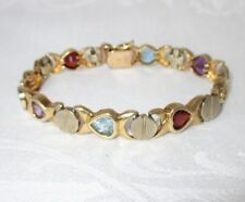 14K Solid Yellow Gold Tennis Bracelet Multi Color Hearts Gemstones Heavy 27 Grms