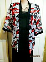 Millers Red black & White Chiffon Jacket size 18 short sleeved