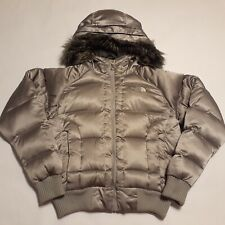 THE NORTH FACE WOMEN SIZE M GOOSE DOWN FULL ZIP SILVER FUR HOODED PUFFER JACKET