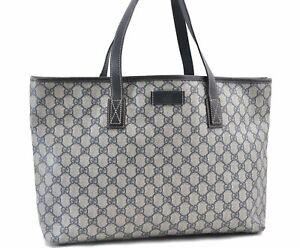 Authentic GUCCI Shoulder Tote Bag GG PVC Leather 211137 Navy Blue E0237