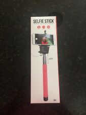 SELFIE STICK WIRED WITH SHUTTER BUTTON COLOR CORAL NEW