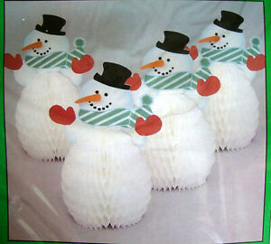 4 x Snowman honeycomb centrepieces Christmas party table decorations FREE P&P