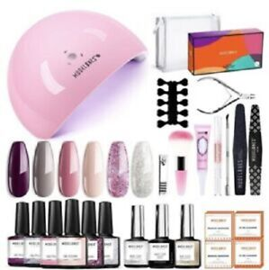 Modelones Pro Gel Nail Polish Starter Kit with LED Lamp and 6 Popular Colors new