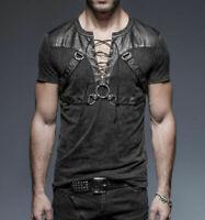 Punk Rave Casual Men's Gothic Rock Metal T-Shirt Top Steampunk casual Black Top