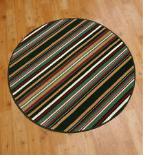 "Modern Circle Rug Carpet Green, Sand and Red stripe design 200x200cm (6'7""x6'7"")"