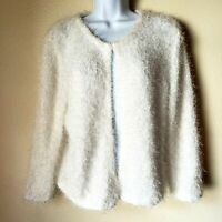 H & M White Furry Cardigan Fuzzy Sweater Women M EUC Open Front Shag Shiny