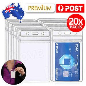 20x Clear Plastic ID CARD HOLDER POUCH PVC Lanyard Work BADGE Zip Lock Quantity