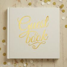 Ginger Ray Ivory Gold Foiled Wedding Christening Guest Book Metallic Perfection