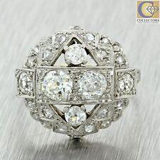1920s Antique Art Deco Estate Solid Platinum 1.60ctw Rose Cut Diamond Ring