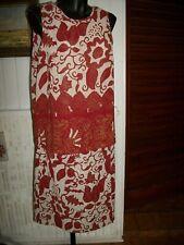 Tailleur Jupe/top Polyester beige fleurs rouge UN JOUR AILLEURS 44/46 15ETT9