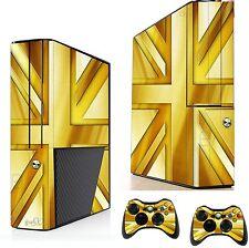 Gold Union Jack Sticker/Skin xbox 360e Console & Remote controller  xsk12