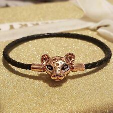 NEW Authentic PANDORA Rose Sparkling Lion Princess Leather Bracelet 588053CBK 19