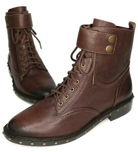 NEW Vince Camuto WOMEN'S Brown Talorini Studded Combat Boots Size 8M US