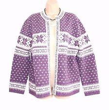 Purple Cream 100% Wool SUSAN BRISTOL Nordic Ladies Women's Cardigan Size UK16 18