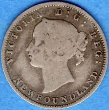 Newfoundland 1888 Obv. 2 5 Cents Five Cent Small Silver Coin - G/VG
