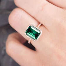 2.65 Ct Emerald-Cut Green Emerald Engagement Ring Certified Solid 14k Rose Gold