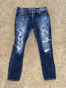 American Eagle Super Stretch Mid Rise Jegging Jeans Distressed Size 14 AS IS