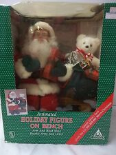Vintage christmas motionette Santa on Bench Animated Motion Toy Sack HO HO HO