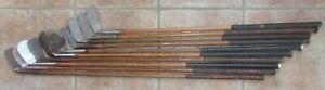 10 Antique Vintage Interesting 1900 To 1930 Hickory Wood Shaft Golf Clubs